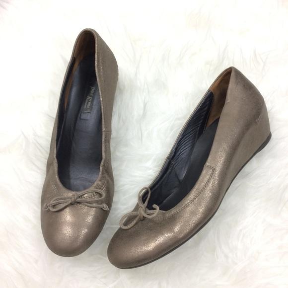Paul Green Shoes - Paul Green Metallic Bronze Wedge Shoes Bows Heels